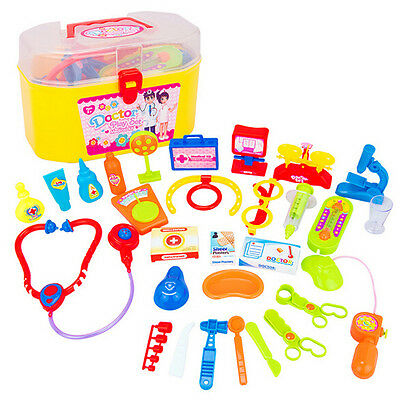 30pcs Kid Doctor Nurses Medical Junior Set Carry Case Role Play Dress Up Kit Toy