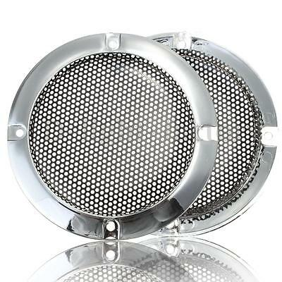 2pcs New 4 inch Silver Circle Speaker Decorative Circle With Protective Grille