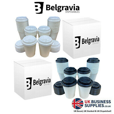 WHITE COFFEE/TEA CUPS & SIP LIDS Disposable Paper (8oz,12oz) Catering