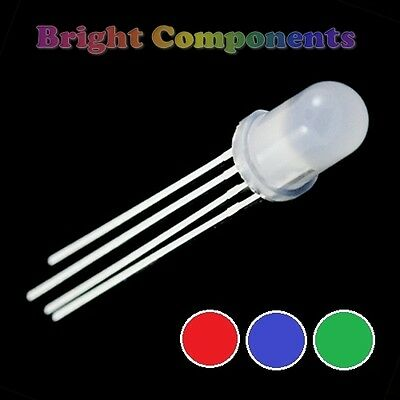 5 x Tri-Colour Diffused LED 5mm  - Red/Green/Blue - UK - 1st CLASS POST