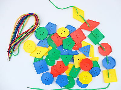 30 Large Sorting Buttons & 4 Threading Laces - Education Early Learning Fun Game