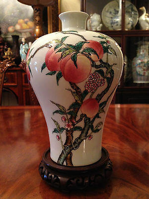 Rare Chinese Antique Famille Rose Porcelain Meiping Vase Marked.