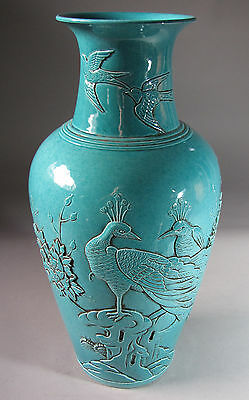 Fine Chinese Turquoise Glazed Baluster Vase in High Relief with Phoenix-19th C.