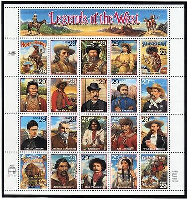 1994 Legends of the West  Mint Sheet of 20 United States Postage Stamps S039