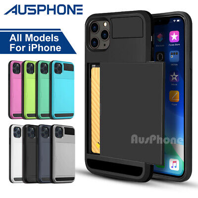 iPhone XS X Max XR Shockproof Slide Card Armor Hard Tough Case Cover For Apple