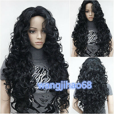 New Fashion Ladies Black Long Curly Natural Hair full wigs+Wig cap