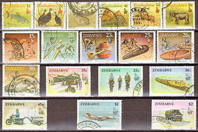 Zimbabwe 1990 Complete Definitive Set Used Wildlife Transport Handicrafts 0510