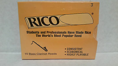 RICO BASS CLARINET REEDS STRENGTH 3 ( SEALED PACK OF 10 ) Free Shipping UK