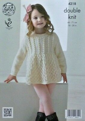 KNITTING PATTERN Childrens Long Sleeve Cable Yoke Smock Dress DK King Cole 4218