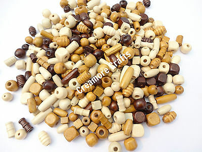 100 Or 200 - Wooden Mixed Size & Shape Wood Beads Craft Jewellery Hair Braiding