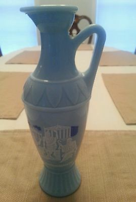 1962 Jim Beam Greek Themed Liquor Decanter (Vintage, Light Blue Milk Glass)
