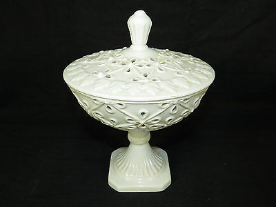 Vintage Italian Capodimonte Pottery Crown-N Mark Compote+Lid,Candy Dish Bowl