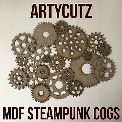 Steampunk Cogs Wooden MDF Bundle Mixed Sizes 110mm - 25mm Craft Blanks