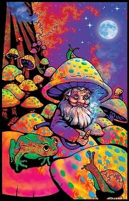 Mushroom Man - Blacklight Poster - 23X35 Flocked Fantasy Shrooms Gnome 1966