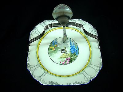 SHELLEY Rare Serving Plate Tray w/ Silver Handle Spoon MY GARDEN Pattern