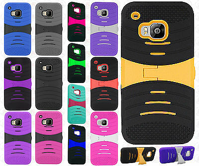 For HTC One M9 Hard Gel Rubber KICKSTAND Case Phone Cover Accessory