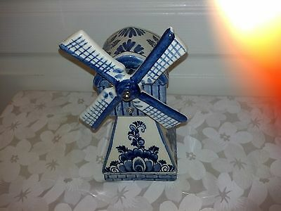 """Vintage Delfts Blue Musical Windmill 9"""" Tall Made in Holland"""