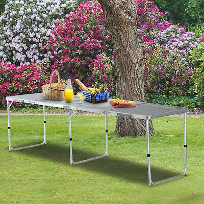 8' Alu. Adjustable Portable  4 Section Beer Pong Table Picnic Camping Party BBQ