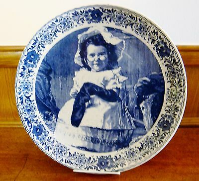 """Rare Vintage Delfts Blauw 13"""" Wall Plate - Young Girl"""