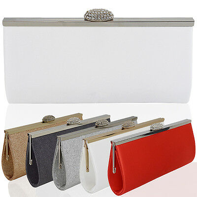 New Womens Clutch Bag Sparkly Glitter Satin Ladies Wedding Bridesmaid Prom Party