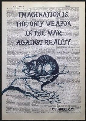 Vintage Alice in Wonderland Cheshire Cat Quote Dictionary Print Wall Art Picture