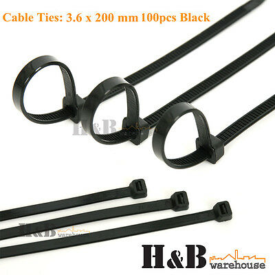 100 Pcs Cable Tie High Quality Black 3.6x200 mm Nylon Cable Ties Zip T0130