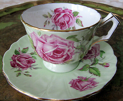 Aynsley Cabbage Rose and Leaf Cup and Saucer