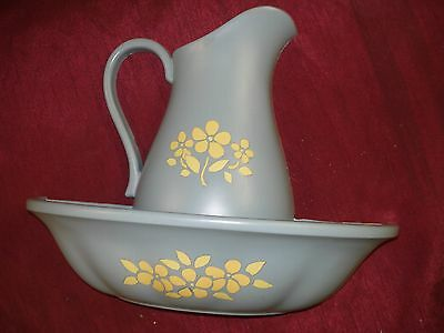 VTG HOMCO BOWL & PITCHER BLUE WALL POCKET DISPLAY PLANTER SYROCO FLORAL STENCIL