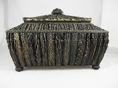 Antique Anglo Indian Staghorn Tea Caddy C1850's Box
