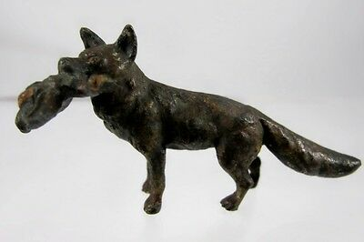 Miniature Cold Painted Austrian Bronze Of Fox With Duck In Mouth C1900