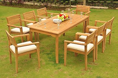 "9 Pc Teak Stacking Garden Outdoor Patio Furniture Pool Montana Dining -71"" Table"
