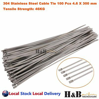 100 PCS 4.6mm X 350mm 316 Marine Grade Stainless Steel Cable Ties Zip T0155