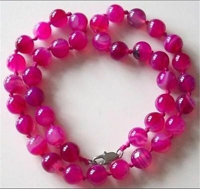 10Mm Antique Art Deco Genuine Rare Pink Chalcedony Agate Beads Necklace A22