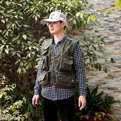 Mens Jacket Vest Waistcoat For Outdoor Fishing Photography Director Camera