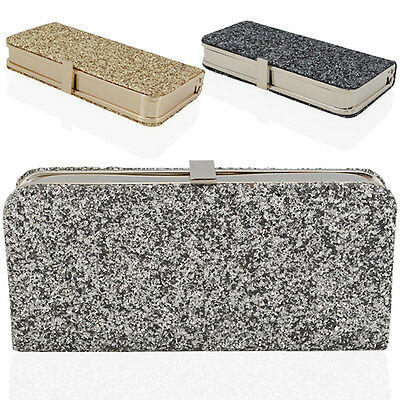 Womens Glitter Clutch Bag Sparkly Silver Gold Black Evening Bridal Prom Party UK