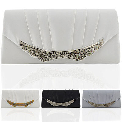 Womens Satin Clucth Bag Bridal Ladies Diamante Evening Classy Crystal Wedding UK