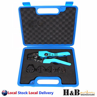 5 Dies Ratchet Crimper Crimping Tool Kit Bootlace Open Barrel Non Insulated