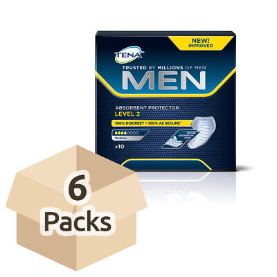 6x TENA Men Absorbent Protector For Men - Level 2 - Pack of 10 - 200ml