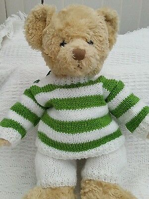 "Teddy Bear hand knitted green and white sweater and shorts.To Fit 15""-16"" TEDDY"