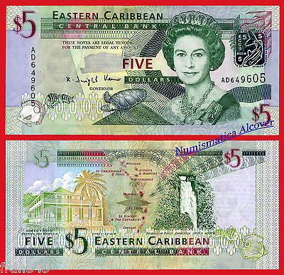 EAST CARIBBEAN STATES CARIBE 5 dollars $5 2008 Pick 47  SC / UNC