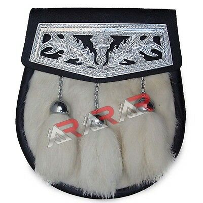 White Day Fur Sporran with 3 White Fur Tassels & Celtic Cantle & Chain Belt