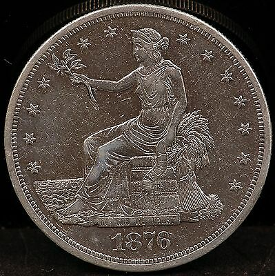 1876 About Uncirculated Details (cleaned) Trade Silver Dollar - td3