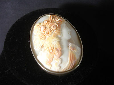 Old Vtg Antique Collectible Carved Concave Cameo Pin Silver toned Unique