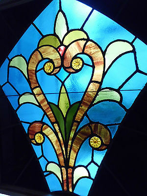 Antique Vtg Church Stained Glass Window Architectural Salvage Scroll 1980s W283