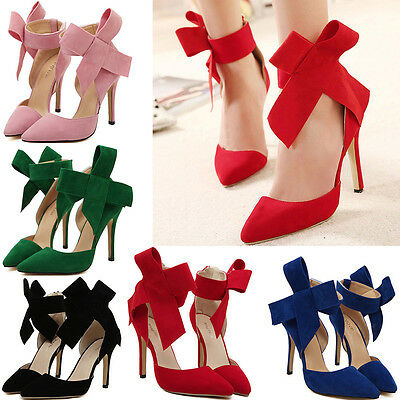 Big Bow Pointed Toe Strap High Thin Heels Fashion Bridal Party Evening Shoes
