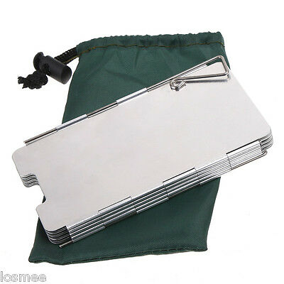 9 Plates Foldable Camping Hiking Stove Windshield Screen Picnic Cookout