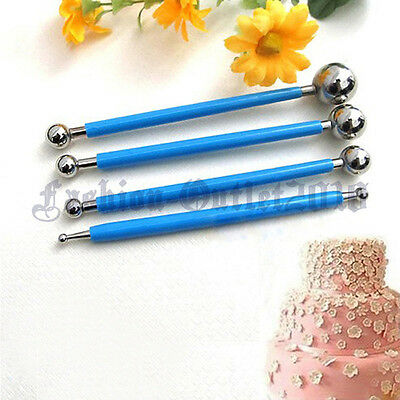 4X Fondant Cake Flower Decorating Clay Sugarcraft Ball Modelling Cutter Tool FZ