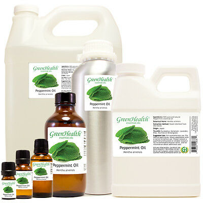 Green Health Peppermint Essential Oil All Natural Uncut - Sizes 5 ml - 1 GAL