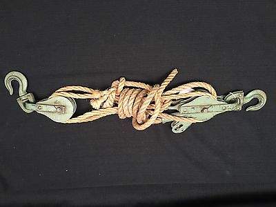 Vintage Antique Moline Farm Block and Tackle Double Pulley with Locking Device