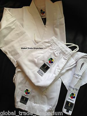 NEW ARAWAZA WHITE KIDS WKF KARATE SUIT TOP QUALITY GI UNIFORM MIDDLEWEIGHT 10oz